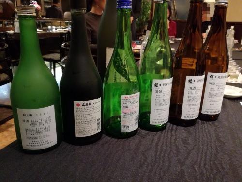 日本酒ナビゲーターの授業内でテイスティングした日本酒の裏ラベルの画像